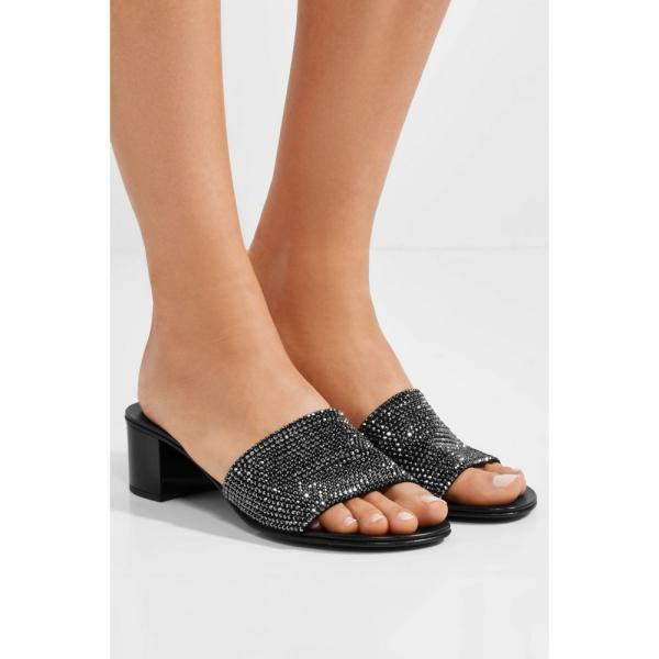 ジュゼッペ ザノッティ レディース サンダル・ミュール シューズ・靴 Roll crystal-embellished suede mules