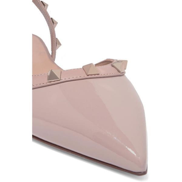 ヴァレンティノ Valentino レディース スリッポン・フラット シューズ・靴 Garavani The Rockstud patent-leather slingback flats Water Rose, Poudre