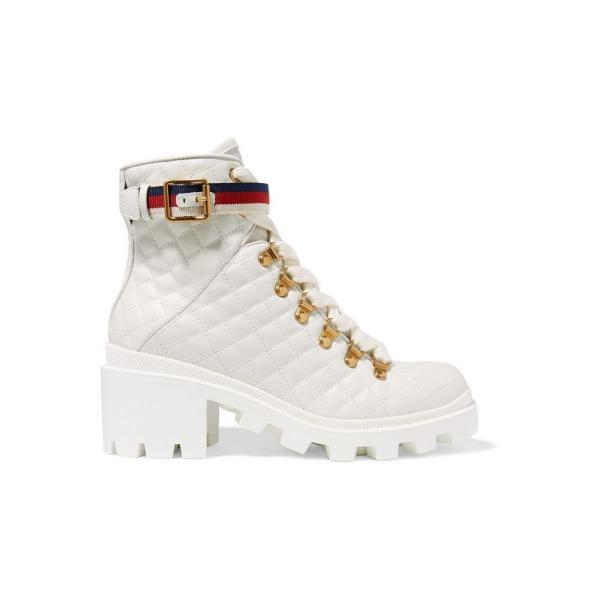グッチ Gucci レディース ブーツ シューズ・靴 Trip grosgrain-trimmed quilted leather ankle boots