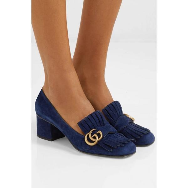 グッチ Gucci レディース パンプス シューズ・靴 Marmont fringed logo-embellished suede pumps