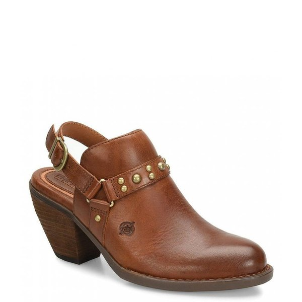 ボーン Born レディース クロッグ シューズ・靴 Pindo Leather Slingback Block Heel Clogs British Tan