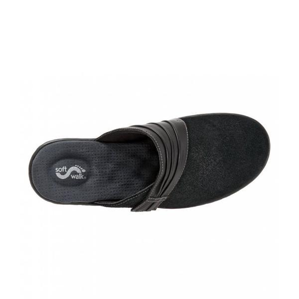 ソフトウォーク SoftWalk レディース クロッグ シューズ・靴 Mason Suede and Leather Clogs Black