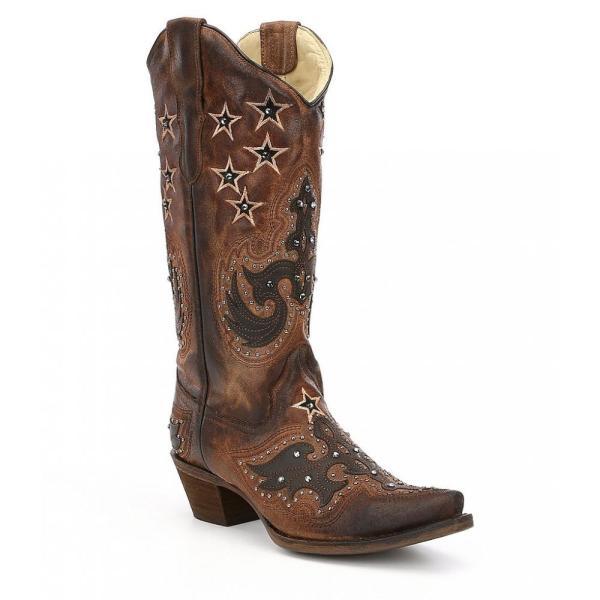 コラル Corral Boots レディース ブーツ シューズ・靴 Overlay and Star Embroidery Studded Block Heel Boots Dark Brown