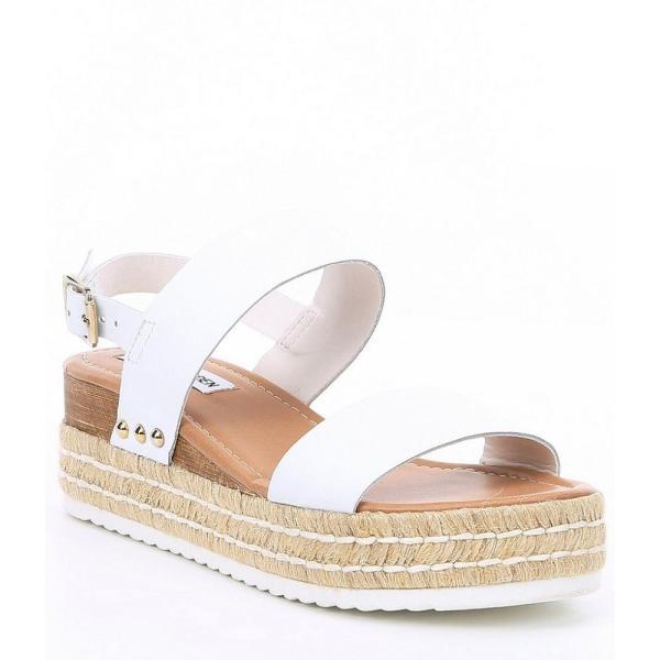 スティーブ マデン Steve Madden レディース エスパドリーユ シューズ・靴 Catia Espadrille Flatform Sandals White Leather