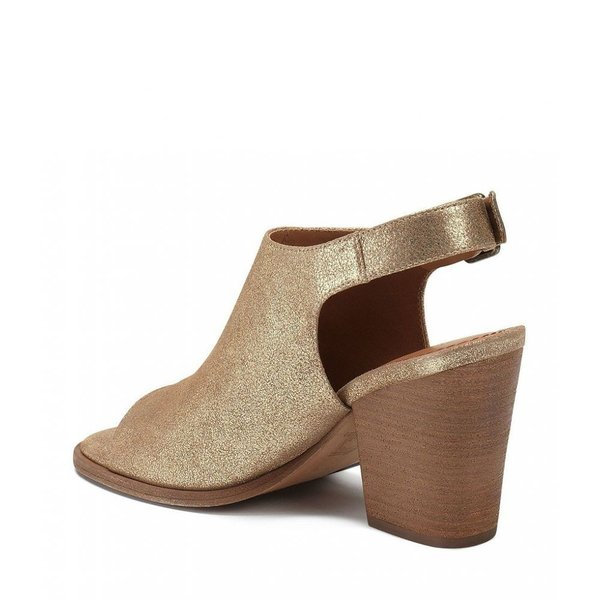 トラスク Trask レディース サンダル・ミュール シューズ・靴 Parker Metallic Suede Slingback Peep-Toe Block Heel Sandals Gold