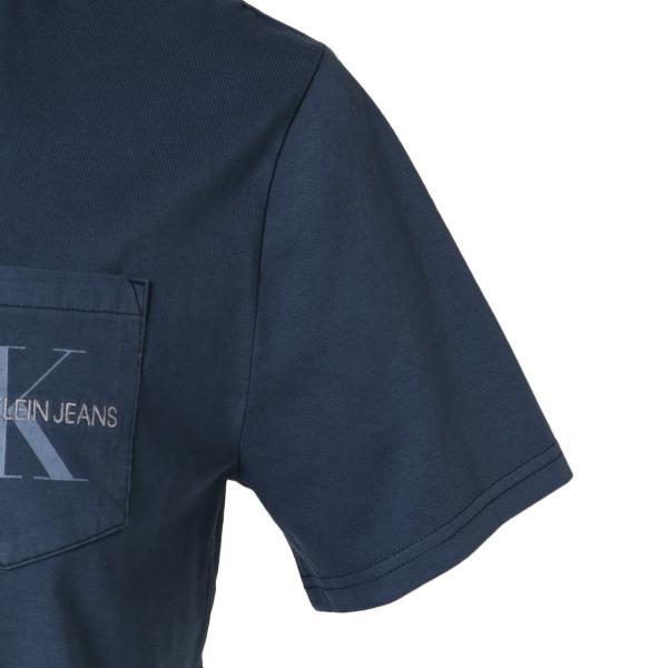 【即納】カルバンクライン Calvin Klein メンズ Tシャツ トップス GARMENT DYED MONOGRAM POCKET TEE MOOD INDIGO ポケットT ポケT|ef-3|05
