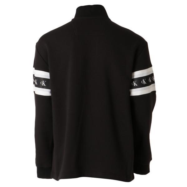 【即納】カルバンクライン Calvin Klein メンズ スウェット・トレーナー トップス MONOGRAM TAPE 1/4 ZIP BLACK モノグラム ロゴ ハーフジップ ef-3 02