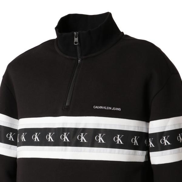 【即納】カルバンクライン Calvin Klein メンズ スウェット・トレーナー トップス MONOGRAM TAPE 1/4 ZIP BLACK モノグラム ロゴ ハーフジップ ef-3 05