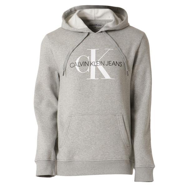 【即納】カルバンクライン Calvin Klein メンズ パーカー トップス CK MONOGRAM LOGO HOODIE MED CHAR HTHR モノグラム プルオーバー フーディ フード ef-3