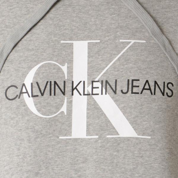 【即納】カルバンクライン Calvin Klein メンズ パーカー トップス CK MONOGRAM LOGO HOODIE MED CHAR HTHR モノグラム プルオーバー フーディ フード ef-3 03