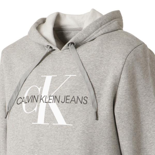 【即納】カルバンクライン Calvin Klein メンズ パーカー トップス CK MONOGRAM LOGO HOODIE MED CHAR HTHR モノグラム プルオーバー フーディ フード ef-3 05