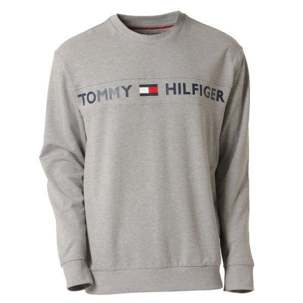 【即納】トミー ヒルフィガー Tommy Hilfiger メンズ 長袖Tシャツ トップス MODERN ESSENTIALS CREW NECK  GRAY HEATHER ロンT ロングT ロゴ プリント|ef-3