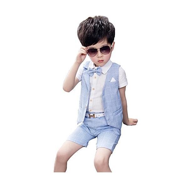 4fe0965517d83 ViVaShop 男の子スーツ フォーマル シャツ パンツ 蝶ネクタイ ベスト付き 七五三 結婚式 4点セット