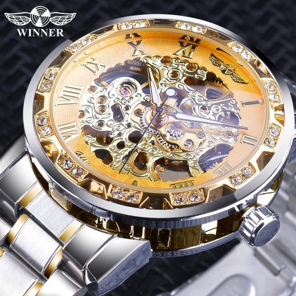 受賞ゴールデンスケルトン腕時計高級ダイヤモンドデザインシルバーステンレス鋼メンズ機械式腕時計夜光男性時計 S1089-3|egaia|02