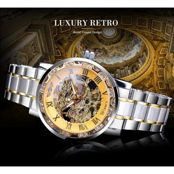 受賞ゴールデンスケルトン腕時計高級ダイヤモンドデザインシルバーステンレス鋼メンズ機械式腕時計夜光男性時計 S1089-3|egaia|03
