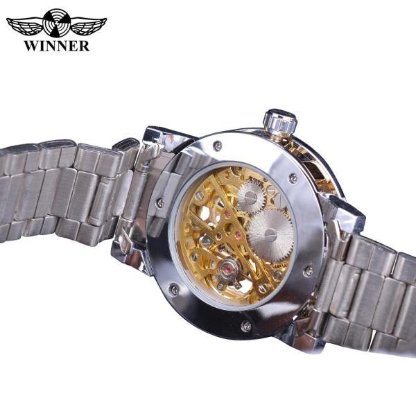 受賞ゴールデンスケルトン腕時計高級ダイヤモンドデザインシルバーステンレス鋼メンズ機械式腕時計夜光男性時計 S1089-3|egaia|05