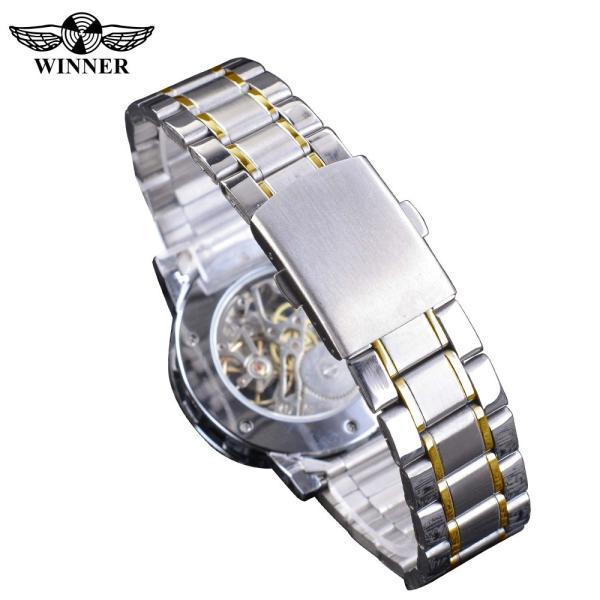 受賞ゴールデンスケルトン腕時計高級ダイヤモンドデザインシルバーステンレス鋼メンズ機械式腕時計夜光男性時計 S1089-3|egaia|06