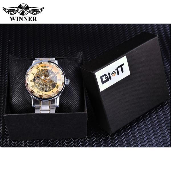 受賞ゴールデンスケルトン腕時計高級ダイヤモンドデザインシルバーステンレス鋼メンズ機械式腕時計夜光男性時計 S1089-3|egaia|07
