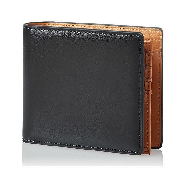 一流の革職人が作るOKACHI二つ折り財布中ベラ付きコードバン調財布札入れ革小物OK-03-BK