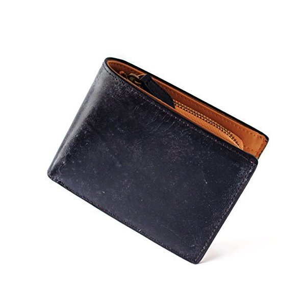 jilgordon伝統のイタリアンブライドルレザー二つ折り財布(ネイビー)メンズレディース一流の革職人が作る三つ折り