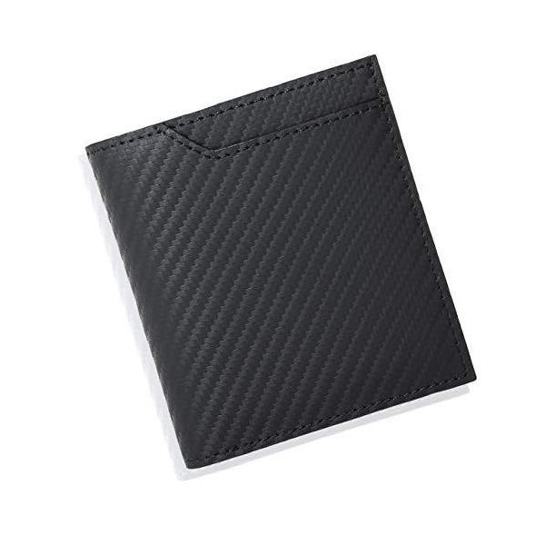 一流の革職人が作る ゲーネン 最先端レザー二つ折り財布ボックス型小銭入れ本革メンズ(ブラック)