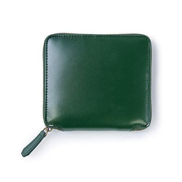 一流の革職人が作るMURA財布メンズ二つ折り本革ファスナー10枚カード収納緑の財布小銭入れ(グリーン)
