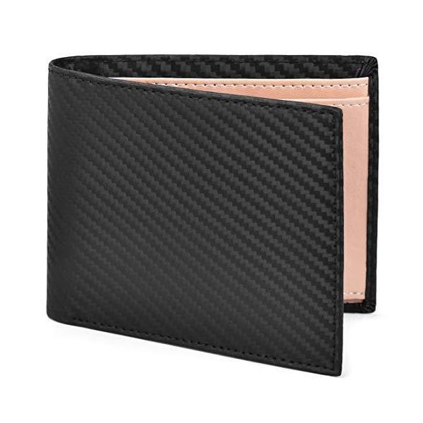一流の革職人が作るNEWHEY財布メンズ二つ折りカーボンレザー本革BOX型小銭入れスキミング防止防水カード収納お札入れ大容