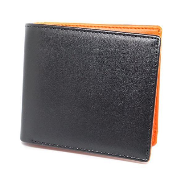 一流の革職人が作るブラック×オレンジF二つ折り財布メンズ二つ折り財布レザー本革薄型大容量ファスナーレディースサイ