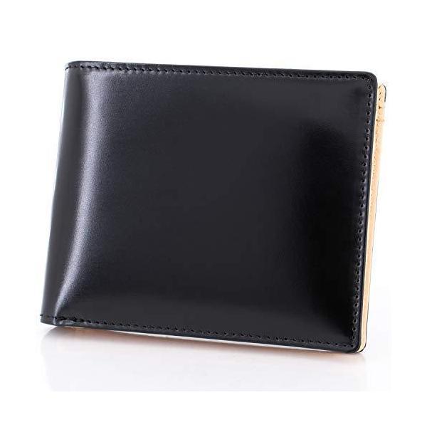 一流の革職人が作るF.shion財布メンズ二つ折り財布コードバン×牛革小銭入れ化粧箱付き本革二つ折りイタリア製 色