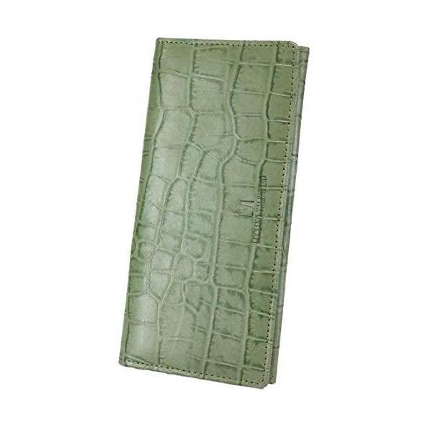 一流の革職人が作るグリーン長財布メンズ財布本革レザークロコダイルクロコ二つ折り薄型薄い財布大容量ファスナーレ?