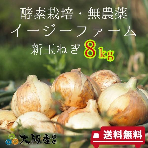 オーガニック 自社農場直送 新玉ねぎ 農薬無散布 8kg (M・L混合) 送料無料 egfarm