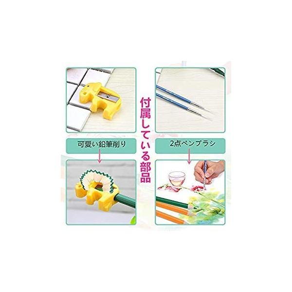 XIRINKK 色鉛筆 水溶性色鉛筆 48色セット 両用 塗り絵用鉛筆セット 水彩画色鉛筆セット 収納ケース 梱包ベルト付き(腰に繋げる)|eh-style|11