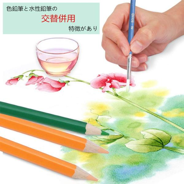 XIRINKK 色鉛筆 水溶性色鉛筆 48色セット 両用 塗り絵用鉛筆セット 水彩画色鉛筆セット 収納ケース 梱包ベルト付き(腰に繋げる)|eh-style|08