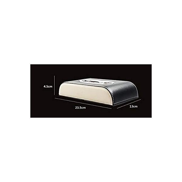 レクサス ティッシュケース カバー ロゴ入り アイボリーホワイト&ブラック ホワイトステッチ刺繍 シルバートリム レザー 各車種汎用 市販テ eh-style