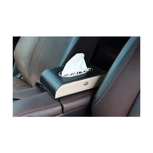 レクサス ティッシュケース カバー ロゴ入り アイボリーホワイト&ブラック ホワイトステッチ刺繍 シルバートリム レザー 各車種汎用 市販テ eh-style 12