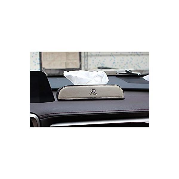 レクサス ティッシュケース カバー ロゴ入り アイボリーホワイト&ブラック ホワイトステッチ刺繍 シルバートリム レザー 各車種汎用 市販テ eh-style 18