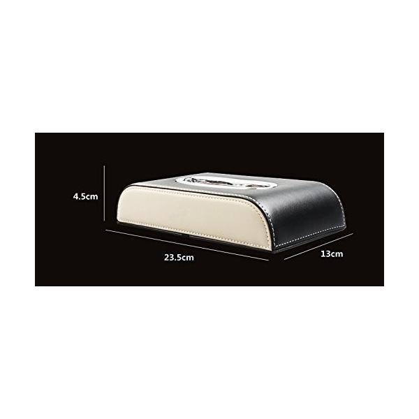 レクサス ティッシュケース カバー ロゴ入り アイボリーホワイト&ブラック ホワイトステッチ刺繍 シルバートリム レザー 各車種汎用 市販テ eh-style 05