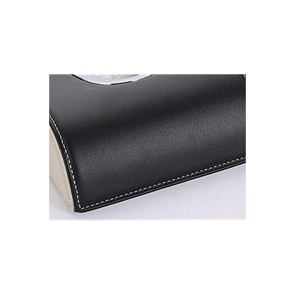 レクサス ティッシュケース カバー ロゴ入り アイボリーホワイト&ブラック ホワイトステッチ刺繍 シルバートリム レザー 各車種汎用 市販テ eh-style 06