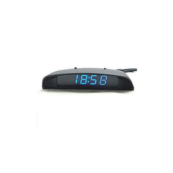 TOWOTO 4in1 車載電子時計 時刻 日付 温度 電圧 お洒落 デジタル コンパクト 多機能Mini車内装飾|eh-style|02