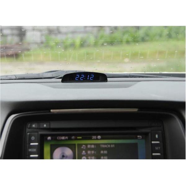 TOWOTO 4in1 車載電子時計 時刻 日付 温度 電圧 お洒落 デジタル コンパクト 多機能Mini車内装飾|eh-style|04