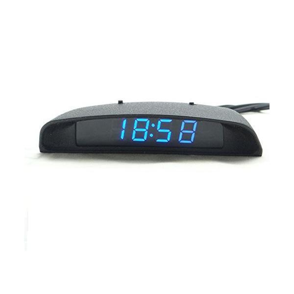 TOWOTO 4in1 車載電子時計 時刻 日付 温度 電圧 お洒落 デジタル コンパクト 多機能Mini車内装飾|eh-style|05