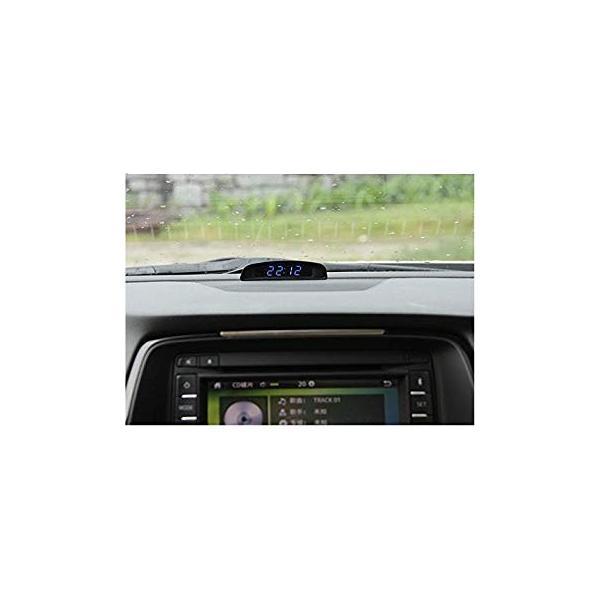 TOWOTO 4in1 車載電子時計 時刻 日付 温度 電圧 お洒落 デジタル コンパクト 多機能Mini車内装飾|eh-style|07