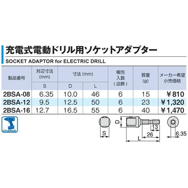 TONE トネ 充電式電動ドリル用ソケットアダプター(9.5sq.用) 2BSA-12|ehimemachine|02