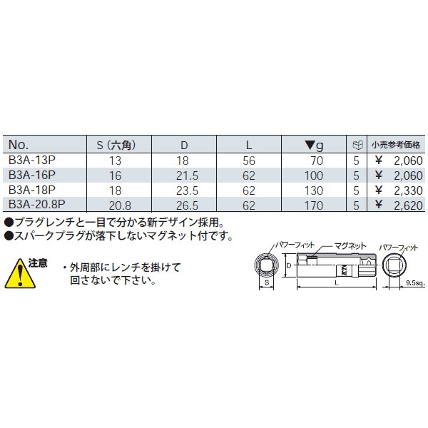 KTC 9.5sq.プラグレンチ B3A-13P|ehimemachine|02