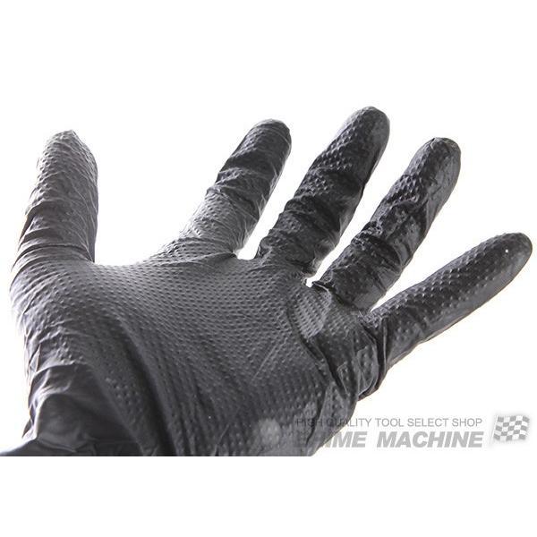 厚め作業用手袋 ダイヤモンド形状表面加工!ブラックニトリルグローブ RETUG 50枚入|ehimemachine|02