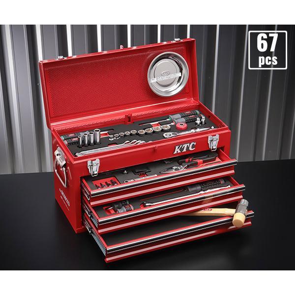 [今だけ卓上カレンダー付] 在庫有 KTC 9.5sq. 67点工具セットSK36719X(豪華特典付)レッド スタンダードツールセット|ehimemachine