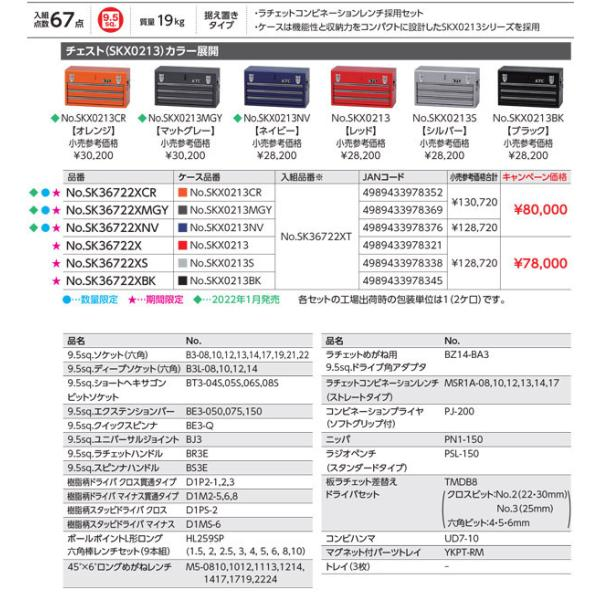 [今だけ卓上カレンダー付] 在庫有 KTC 9.5sq. 67点工具セットSK36719X(豪華特典付)レッド スタンダードツールセット|ehimemachine|06