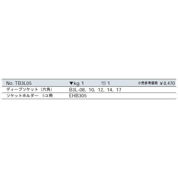 KTC TB3L05 9.5sq.六角ディープソケットセット 5コ組|ehimemachine|02