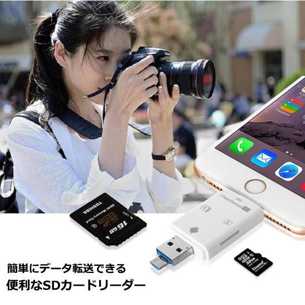 iPhone iPad SDカードリーダライタ カードリーダー Flash device HD SD TF カード USB microUSB Lightning R1001-JH|eightray-shop|02