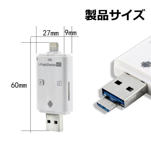 iPhone iPad SDカードリーダライタ カードリーダー Flash device HD SD TF カード USB microUSB Lightning R1001-JH|eightray-shop|03